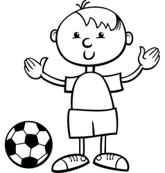 Boy with ball cartoon coloring page vector