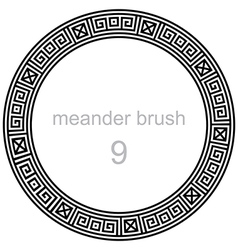 Ancient meander pattern round vector
