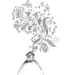 House with doodle smoke vector
