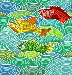 Swimming fish composition vector