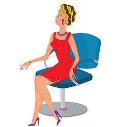 Cartoon woman in red dress and hair rollers vector