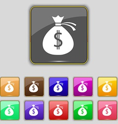Money bag icon sign set with eleven colored vector