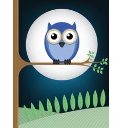 Owl full moon vector