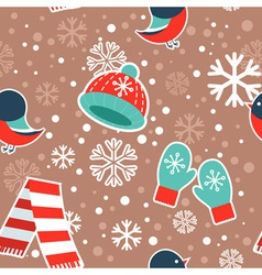 Cute winter seamless pattern with warm clothes vector