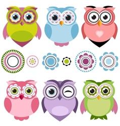 Cute cartoon owls set vector