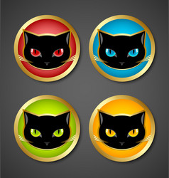 Black cat head icons vector