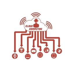 Cloud computing 3 red vector