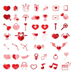 Set valentines day objects love icon vector