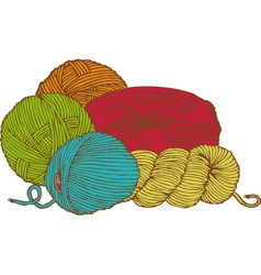 Five hanks of yarn vector