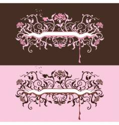Ribbon with roses vector