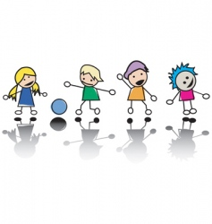 Happy little children at play vector