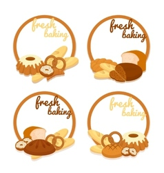 Fresh baking price badges vector