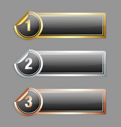 Metallic sticker banners vector