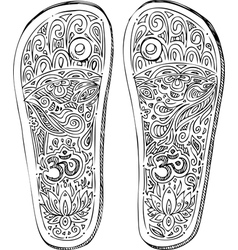 Black and white indian paduka shoes vector