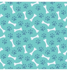 Animal seamless pattern of paw footprint and bone vector