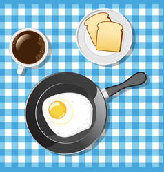 Fried egg with toasts and coffee vector