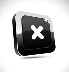 Cross 3d square button vector
