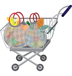 Grocery store shopping cart with full bags vector