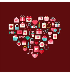 Heart shaped valentine day flat style icons vector
