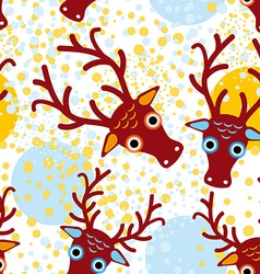 Seamless background with brown deer on an orange vector