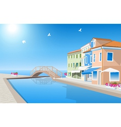 Houses with pool vector