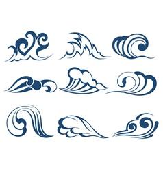 Wave symbols vector