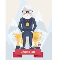 Old man champion in sport vector