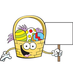 Cartoon easter basket holding a sign vector