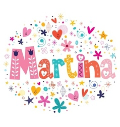 Martina female name decorative lettering type vector