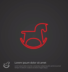 Horse toy outline symbol red on dark background vector