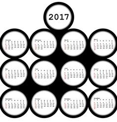 2017 black circles calendar for office vector