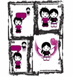 Emo love comics vector