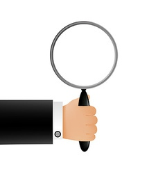 Hand holding a magnifying glass vector