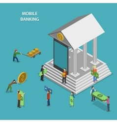 Mobile banking flat isometric concept vector