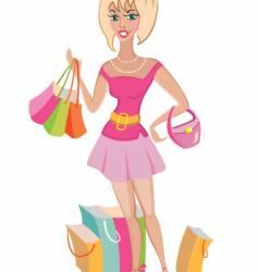 Shopper in pink vector