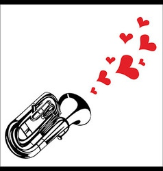 Heart love music trumpet playing a song for valent vector