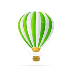 White and green hot air ballon isolated vector