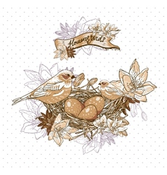 Vintage floral background with birds and nest vector