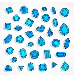 Cartoon doodle blue gems background vector