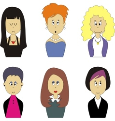 Female face avatar set 001 vector