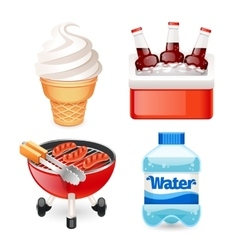 Summer picnic food icons set vector