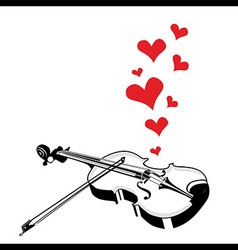 Heart love music violin playing a song for valenti vector
