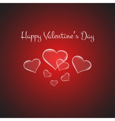 Valentines card with glowing hearts on brigth red vector