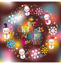 Merry christmas and happy new year greeting card 2 vector