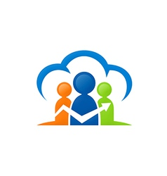 People cloud connection group logo vector