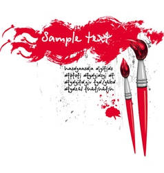 Two brushes and red banner vector
