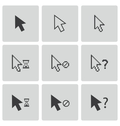 Black mouse cursor icons set vector