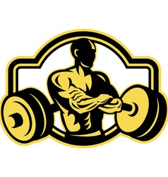 Weightlifter arms crossed barbell retro vector