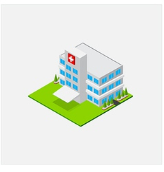 Isometric small hospital healty and medical center vector