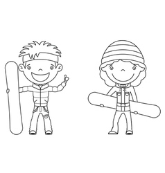 Cute cheerful kids with boards for snowboard vector